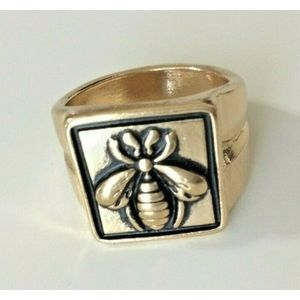 Bee Gold Tone Chunky Ring Size 8